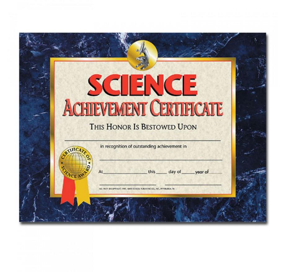 science certificates achievement