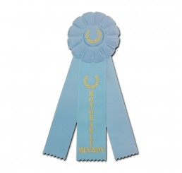 Custom Rosette Ribbon - Honorable Mention - Light Blue