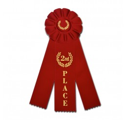 Custom Rosette Ribbon - Second Place - Red