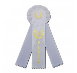 Custom Rosette Ribbon - Third Place - White